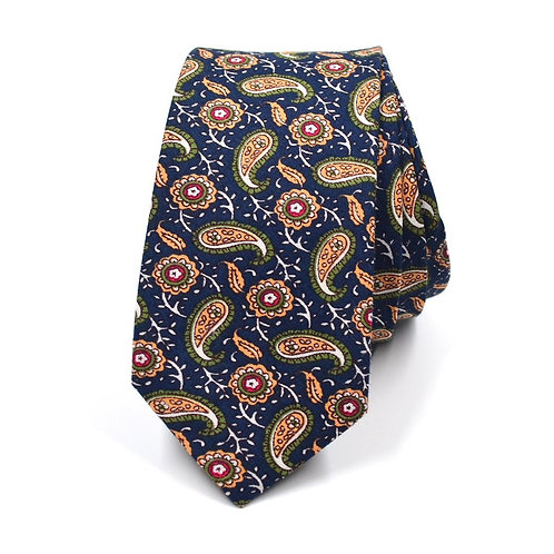 Tmavě modrá Paisley kravata