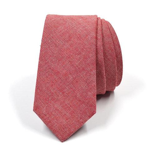 Lněná červená kravata