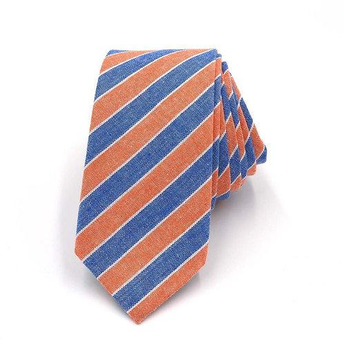 Modrooranžová kravata s proužký