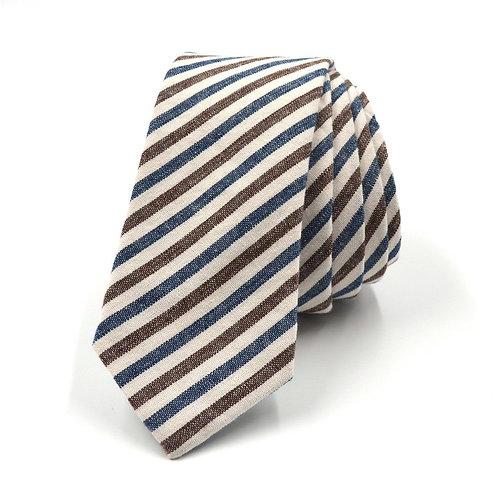 Hnědomodrá kravata s proužký