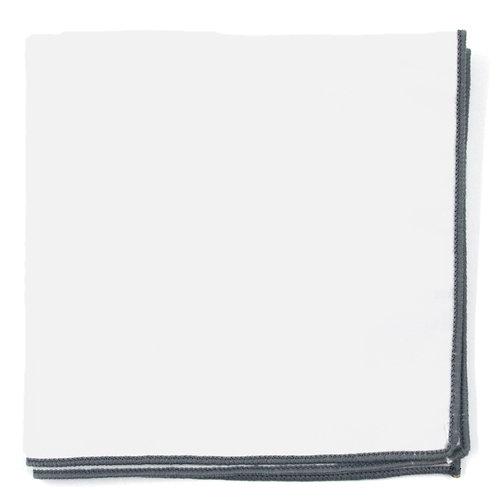 Bílý - Šedý kapesníček do saka
