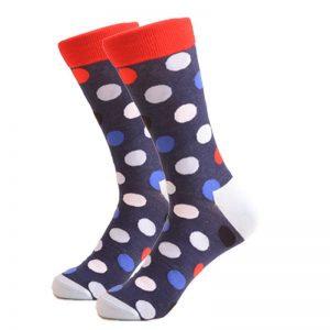 Barevné ponožky - Modročervené puntíky