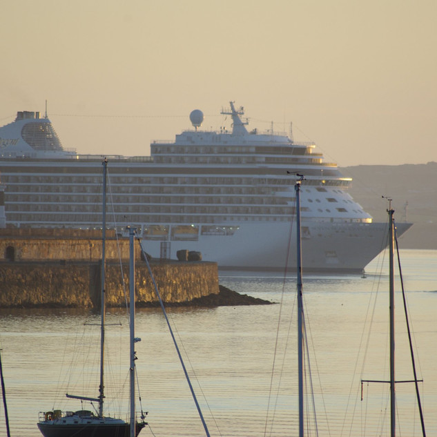 Cruise liners often stop over for the night