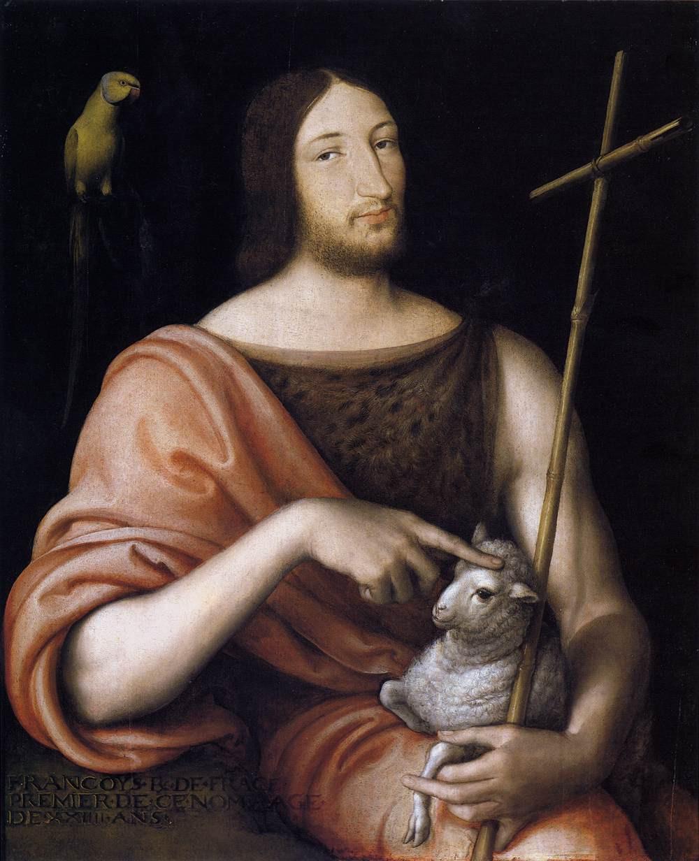 Portrait de François Ier en Saint Jean-Baptiste par Jean Clouet, 1518. Musée du Louvre
