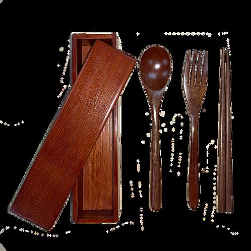 環保木製餐具連盒 Wood Tableware with case