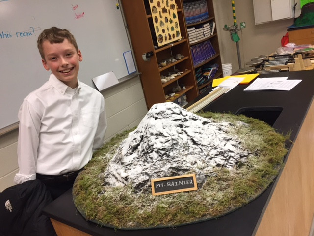 Zach Ware with his volcano project