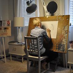 Karen working in her studio