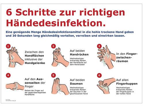 Schild: 6 Schritte zur Händedesinfektion, DIN A4