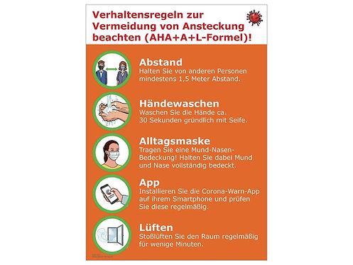 """Aushang """"Verhaltensregeln zur Vermeidung von Ansteckung (AHA+A+L-Formel!)"""""""