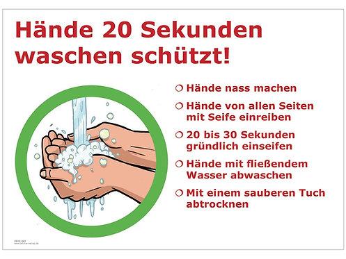 Aushang Corona-Schutzmaßnahmen, Hände 20 Sekunden waschen, DIN A4, laminiert