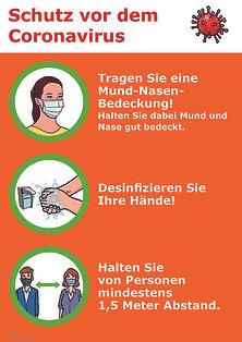 Aushang Corona-Schutzmaßnahmen, Mund-Nasen-Bedeckung, Desinfizieren, Abstand