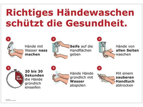 Aushang Corona-Schutzmaßnahmen, Richtiges Händewaschen, DIN A4, laminiert