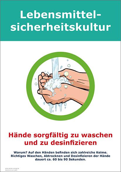 Lebensmittelsicherheitskultur: Hände waschen und desinfizieren