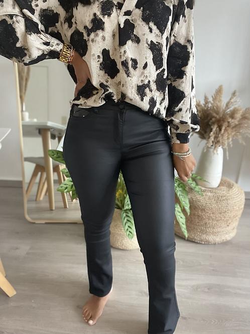 Pantalon bootcut noir huilé