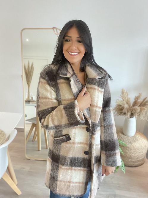 Manteau à carreaux gris et beige