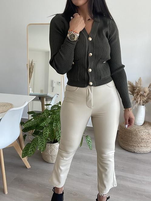 Pantalon en simili cuir beige FLARE