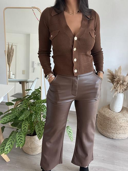 Pantalon en simili cuir marron FLARE