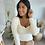 Thumbnail: Blouse BELINDA blanche col en U