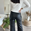 Thumbnail: Pantalon STRAIGHT legs high waist  simili cuir noir