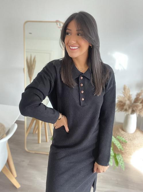 Robe pull polo noir PAULINA