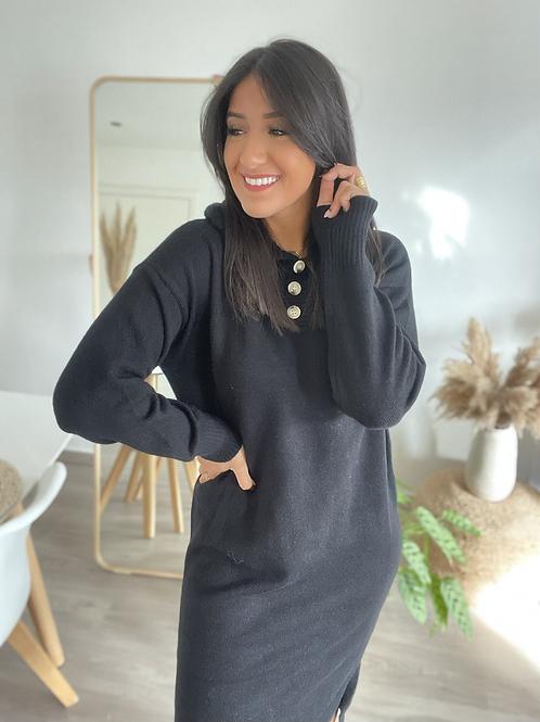 Robe pull à capuche noire VALENTINA