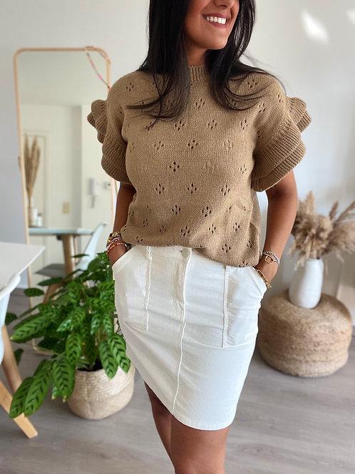 Jupe blanche courte en velours