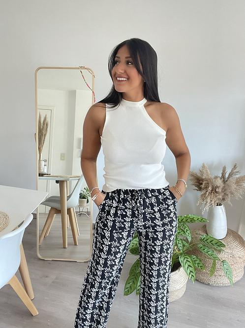 Pantalon BELLA noir et blanc fluide