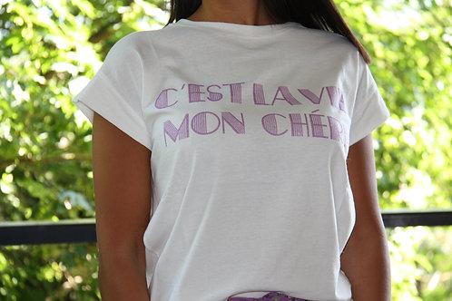 """T Shirt Mauve """" C'est La Vie Mon Chéri"""""""
