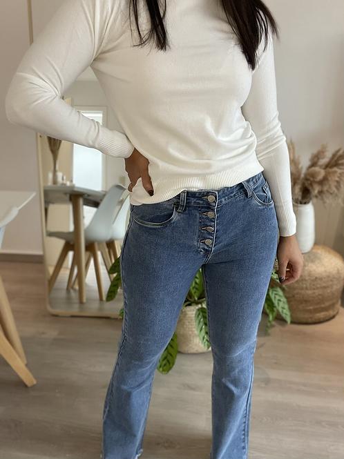 Jeans flare bleu boutonné effiloché