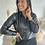 Thumbnail: Chemise noire en simili cuir cintrée DOÑA