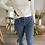 Thumbnail: Jeans flare bleu boutonné effiloché