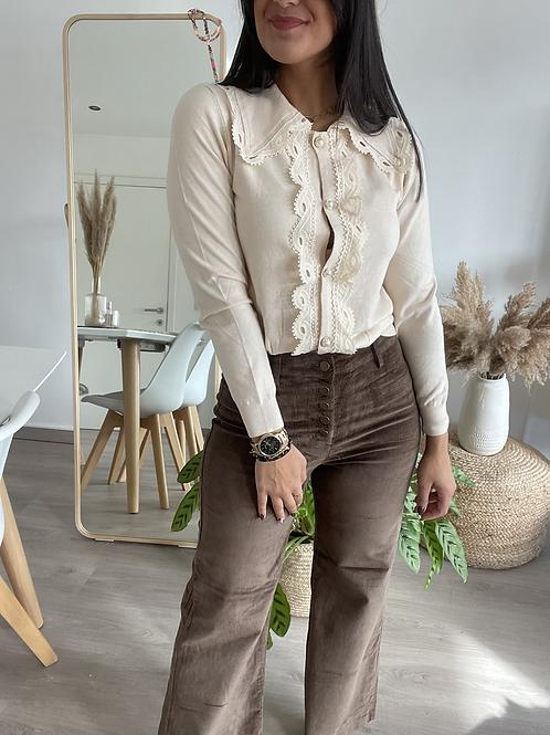 Pantalon en velours marron boutonné