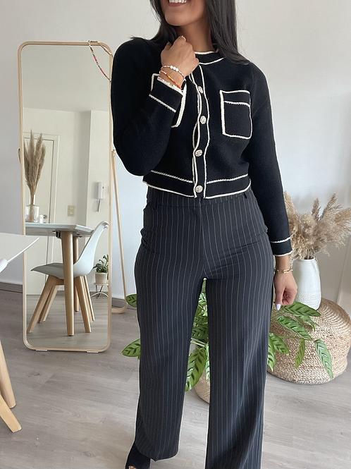 Pantalon fluide ligné noir et blanc
