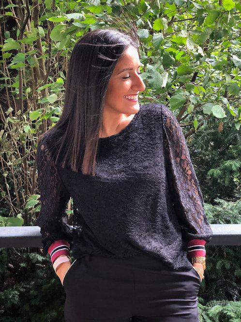 Blouse dentelles noire La Croisette Fashion