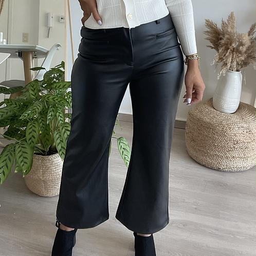Pantalon STRAIGHT legs high waist  simili cuir noir