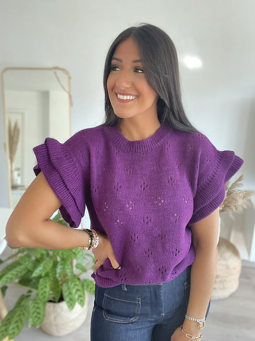 Pull PHOEBE manches courtes violet