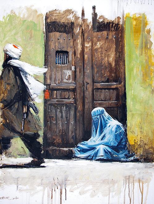 Afghanistan, Les Hirondelles de Kaboul, Femme devant la porte (65 x 50 cm)