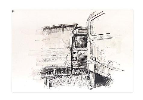 Zingaro, Le bus-cabane (30 x 42 cm)