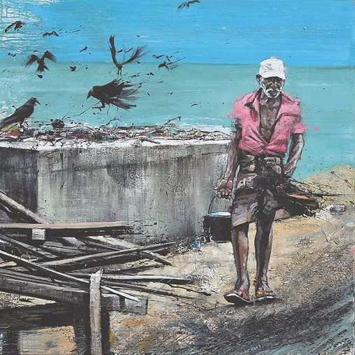 SRI LANKA, Bord de mer peinture Emmanuel Michel