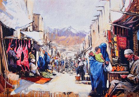 Les Hirondelles de Kaboul, Le souk (21 x 29,7 cm)