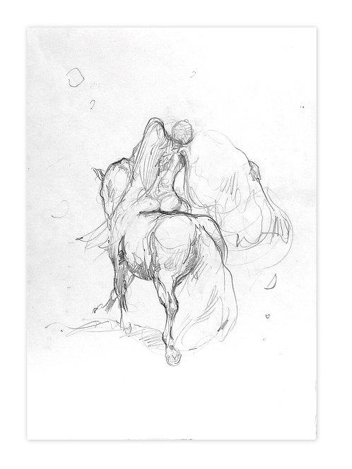 Zingaro, Ange à cheval (42 x 30 cm)