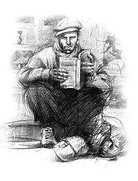 Emmanuel Michel ses livres, dessins d'un homme lisant