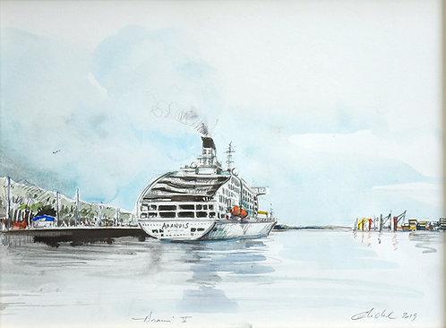 Polynésie, Le bateau l'Aranui V à Tahiti (40 x 30 cm)
