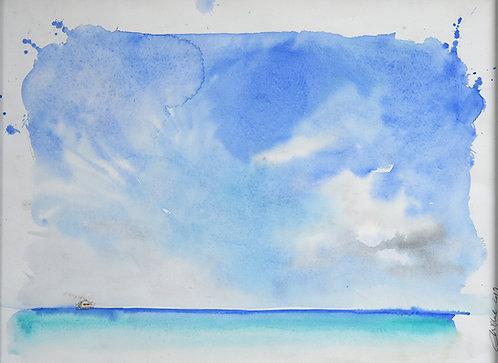 Polynésie, Le bateau l'Aranui V dans l'Ocean Pacifique n°1 (50 x 40 cm)
