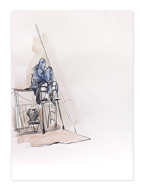 Zingaro, Burka sur échasse en coulisse (42 x 30 cm)