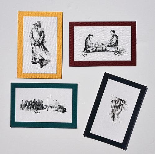 Les Hirondelles de Kaboul, Lot de 4 reproductions