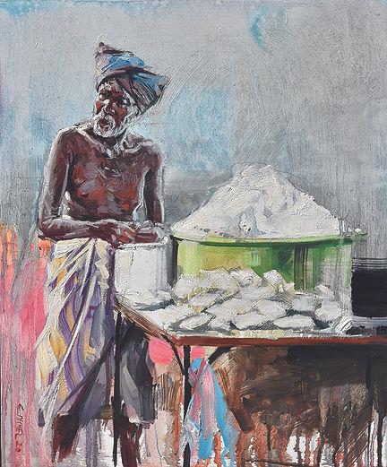 SRI LANKA, Poudre blanche peinture Emmanuel Michel