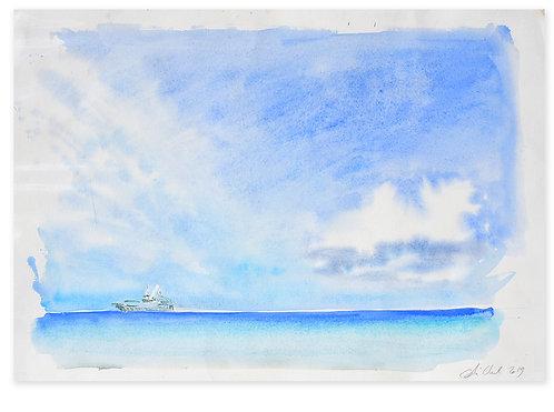 Polynésie, Le bateau l'Aranui V dans l'ocean Pacifique n°2 (50 x 40 cm)