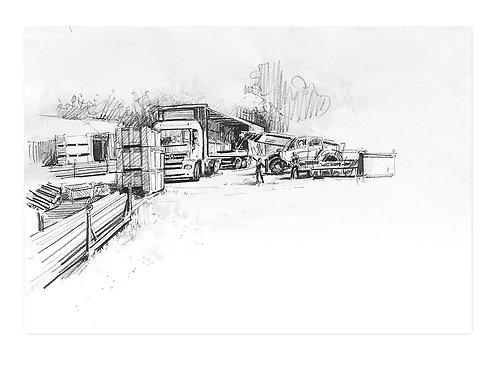 Zingaro, Déchargement du camion en tournée (30 x 42 cm)
