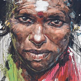 SRI LANKA, Bindi peinture d'Emmanuel Michel grand portrait